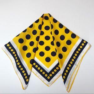 Glentex Vintage Mod Scarf Navy Yellow Silk Rayon